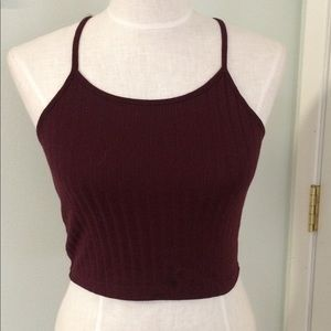 Burgundy maroon ribbed crop tank top high neck